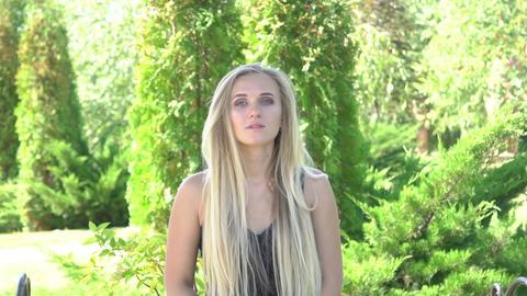 Slow Motion Pretty Woman Portrait Footage