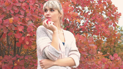 Real Time Cheerful Woman Relaxing In Beautiful Autumn Day Footage