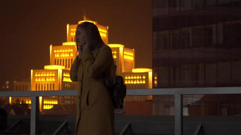 Real Time Cute Teen Girl On A Night City Footage