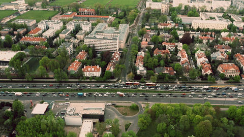 Aerial time lapse of a traffic jam in residential area of…, Live Action