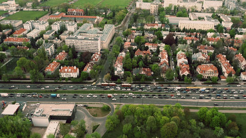 Aerial time lapse of a traffic jam in residential area of a European city Live Action