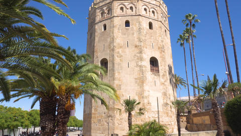 Torre del Oro Gold tower, famous landmark in Sevilla, Spain Live Action