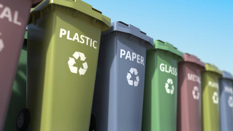 Trash cans for sorting paper, glass, metal and plastic garbage. Loopable Footage