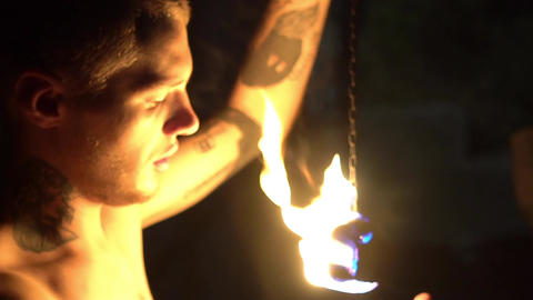 Slow Motion Fire Show Performance Footage