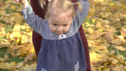 Slow Motion Mom Spends Time With Her Daughter - Walks In Autumn Park Footage