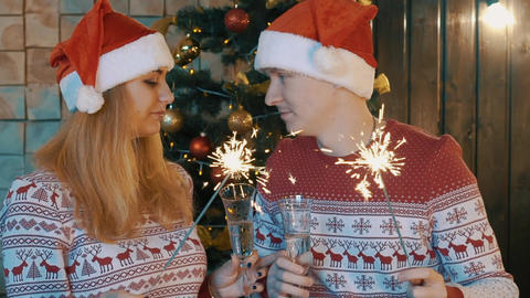 Slow Motion Young Couple Celebrating New Year, Christmas Footage