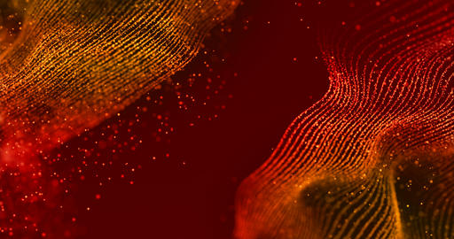 abstract christmas digital golden glitter sparks golden particles with wave lines shape flowing Footage