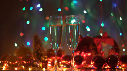 4K Two Glasses Of Champagne Ready For Christmas Celebration Footage
