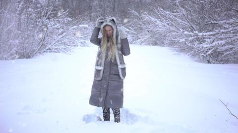 4K Beauty Joyful Model Girl Having Fun In Winter Park Footage