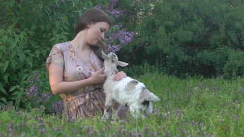 Happy Young Girl Caressing Happy Cute Kid Goat, Live Action