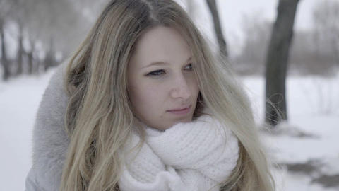 Charming Beautiful Smiling Woman Smile And Send A Kiss Portrait At Winter Footage