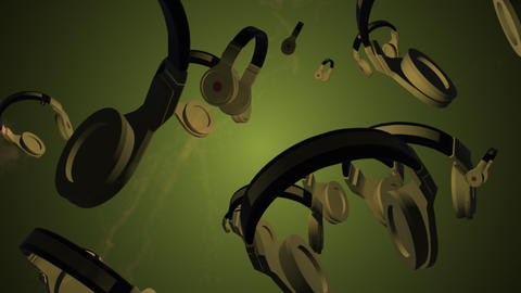 Rotating headphones. 3D animation. Objects spinning Live Action