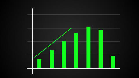 Growing bar graph with rising arrow, financial forecast graph, 3d render Live Action