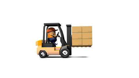 3D Rendering animation of the man driving forklift to carry stack of the box on the wood pallet Animation