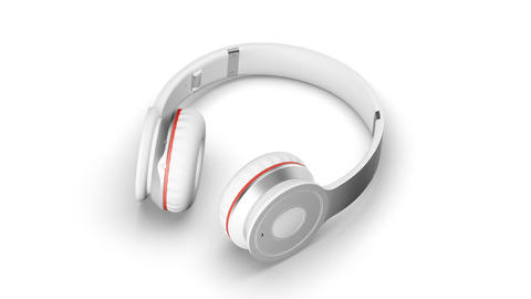 White headphones on white 3d render Isometric view Live Action