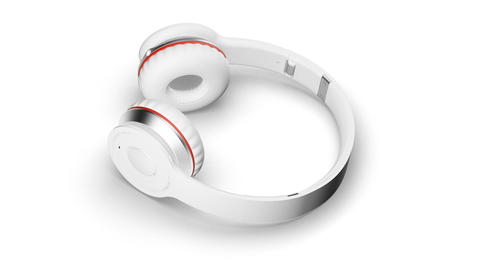 White headphones on white 3d render Isometric view Stock Video Footage