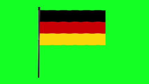4K Germany or Deutschland Flag is waving in green screen Animation