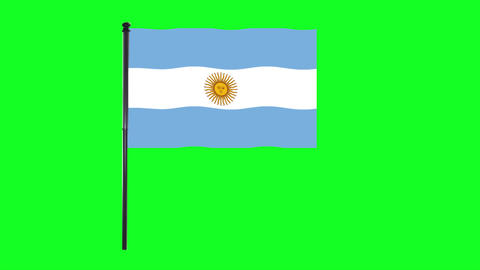 4K Argentina flag is waving in green screen Animation