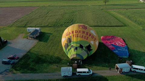 Bird in Hand, Pennsylvania, May 2019 - Aerial View of Hot Air Balloons Trying to Launch in a Wind as Footage