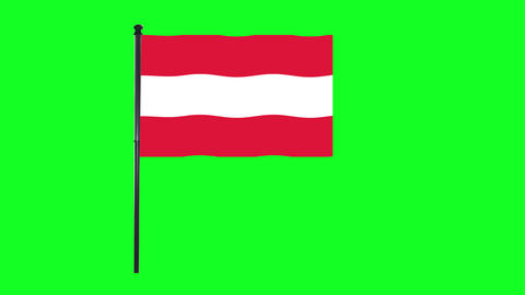 4K Austria, Austrian flag is waving in green screen Animation