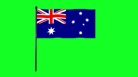 4K Australia flag is waving in green screen Animation