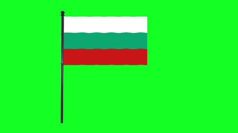 4K Bulgaria flag is waving in green screen Animation