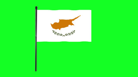 4K Cyprus flag is waving in green screen Animation