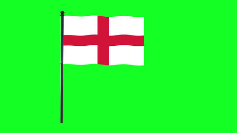 4K England flag is waving in green screen Animation