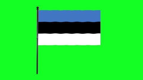 4K Estonia flag is waving in green screen Animation