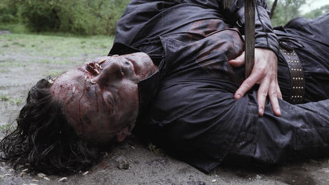 Medieval soldier fallen on the battlefield, decaying face with maggots on it Live Action