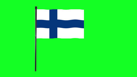 4K Finland, Fin flag is waving in green screen Animation