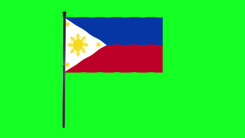 4K Philippines flag is waving in green screen Animation