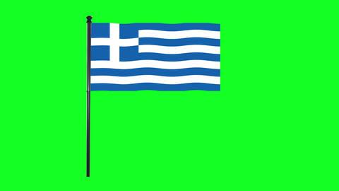 4K Greece, Greek flag is waving in green screen Animation