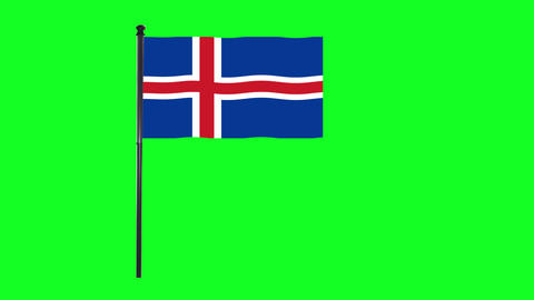 4K Iceland flag is waving in green screen Animation