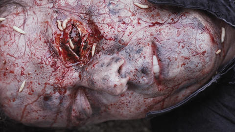Close up of a scary corpse face with maggots on it Live Action
