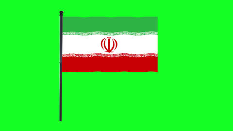 4K Iran, Iranian flag is waving in green screen Animation