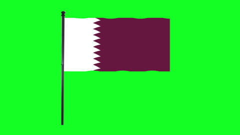 4K Qatar flag is waving in green screen Animation