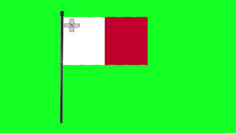 4K Maltese, of Malta flag is waving in green screen Animation