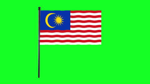 4K Malaysian, of Malaysia flag is waving in green screen Animation