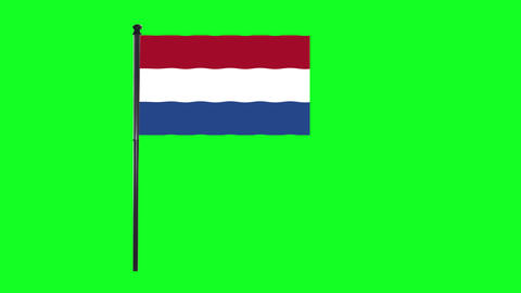 4K Netherlands, Dutch, Holland flag is waving in green screen Animation