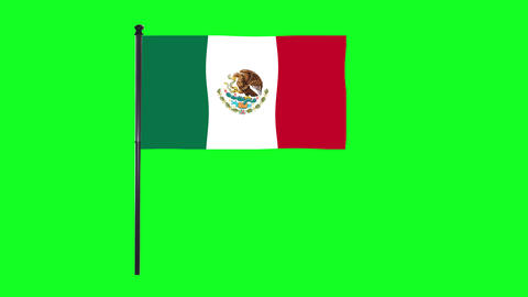4K Mexico flag is waving in green screen Animation