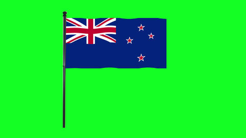 4K New Zealand flag is waving in green screen Animation