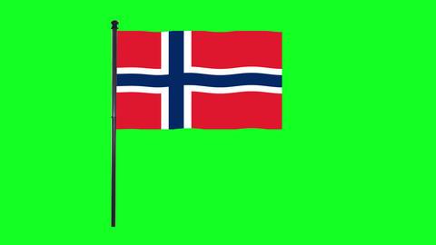4K Norway, Norwegian flag is waving in green screen Animation