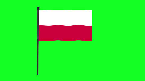 4K Poland, Polish flag is waving in green screen Animation