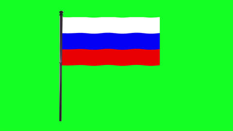 4K Russia Flag is waving in green screen Animation
