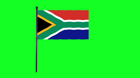 4K South Africa flag is waving in green screen Animation