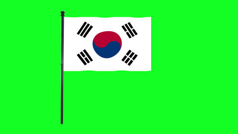 4K South Korea flag is waving in green screen Animation