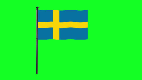 4K Sweden, Swedish flag is waving in green screen Animation
