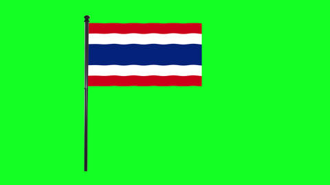 4K Thailand flag is waving in green screen Animation