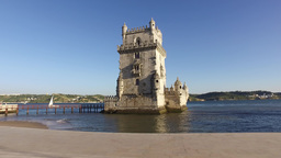 Belem Tower in Lisbon Portugal steady cam gimbal 4k Footage